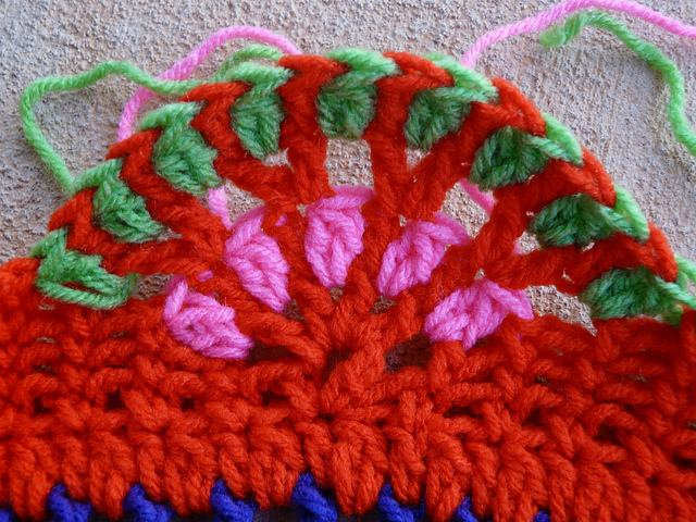 The edge of the crochet table cozy after the trumpet lesson and before dinner