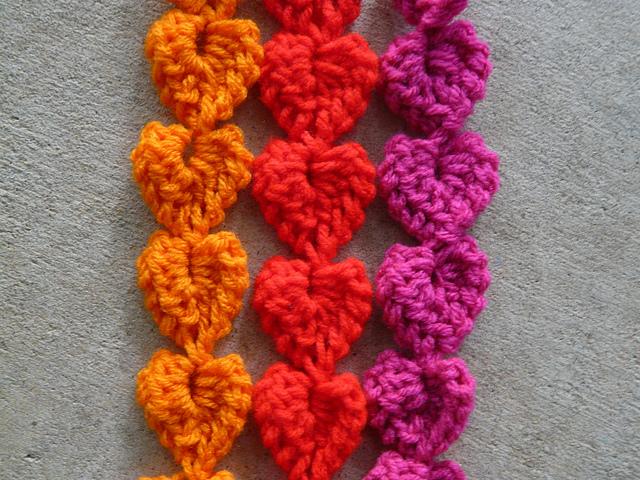 detail of crochet heart strands