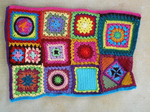 blue crochet strip