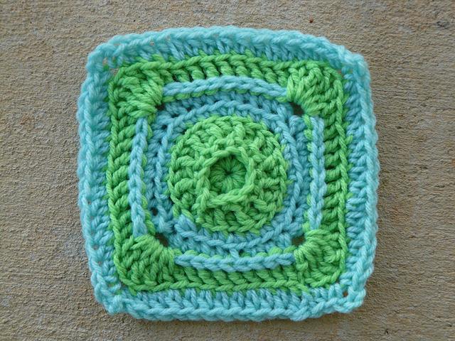 textured crochet square crochet circle center