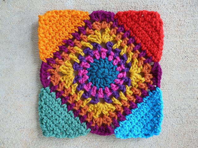crochet square c-2 with crochet triangle corners