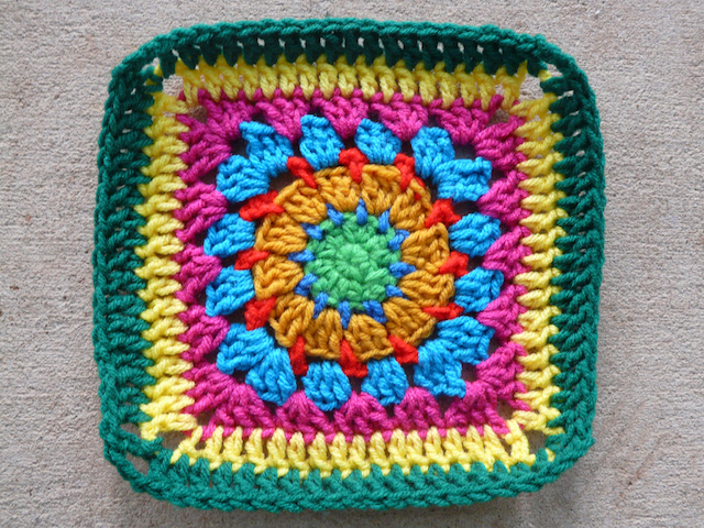 Crochet Square G-1 completed on the day errands ate