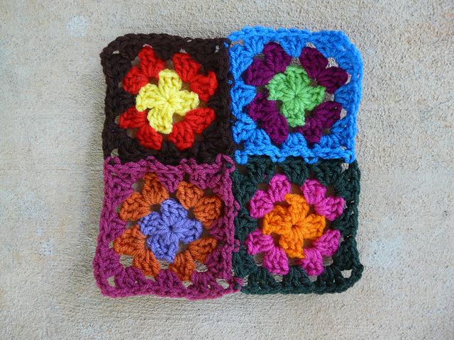 a four patch of granny squares