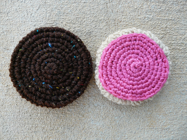 two crochet cookies