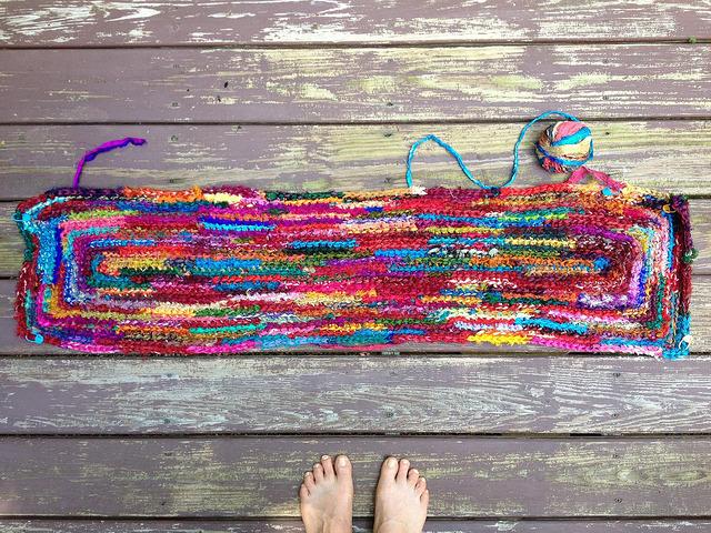 sari strip crochet rag rug