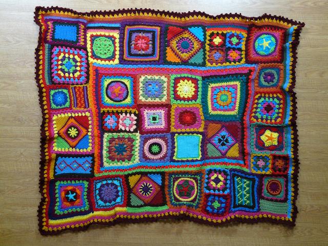 crochet granny square beach blanket