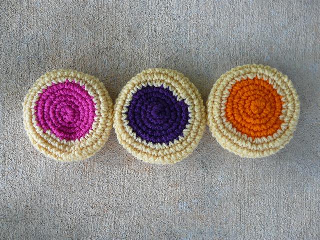 three jam centered crochet cookies