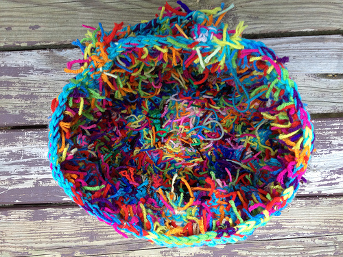 a view of the interior of scrap yarn crochet basket