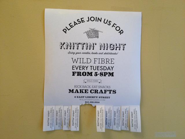 Flyer for Knittin' Night at wild fibre