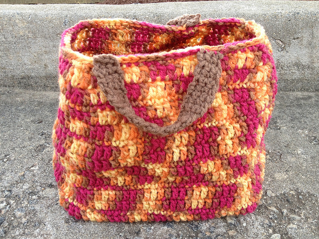 The completed prototype for a crochet grocery bag for Melanie Griffith