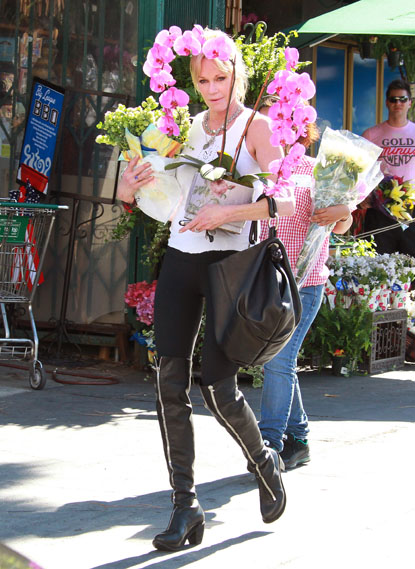 Melanie Griffith shopping for flowers