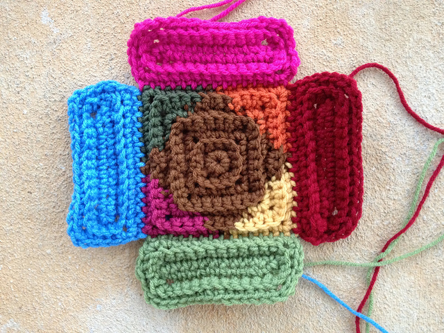 crochet rectangles and a crochet square