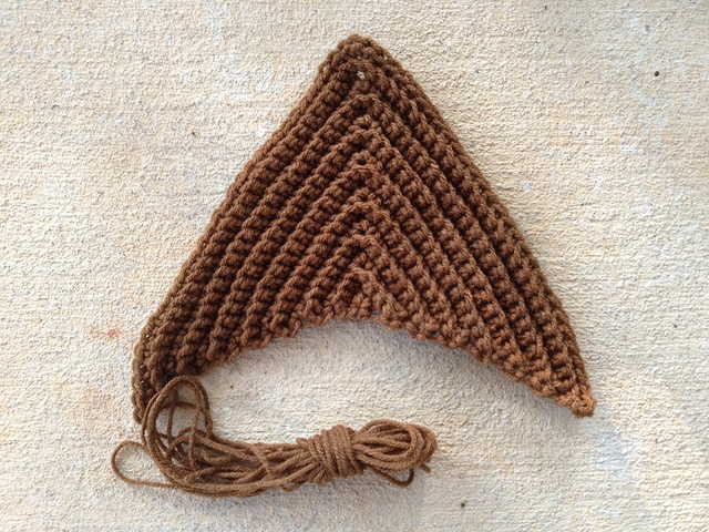 Red Heart Classic medium brown from my stash used to make a large textured crochet triangle