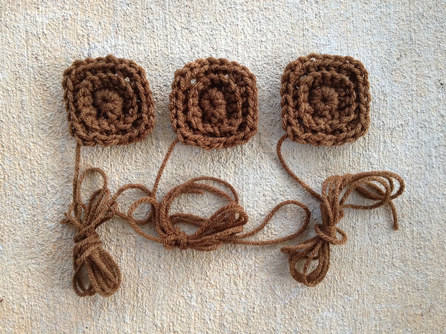 brown textured crochet squares