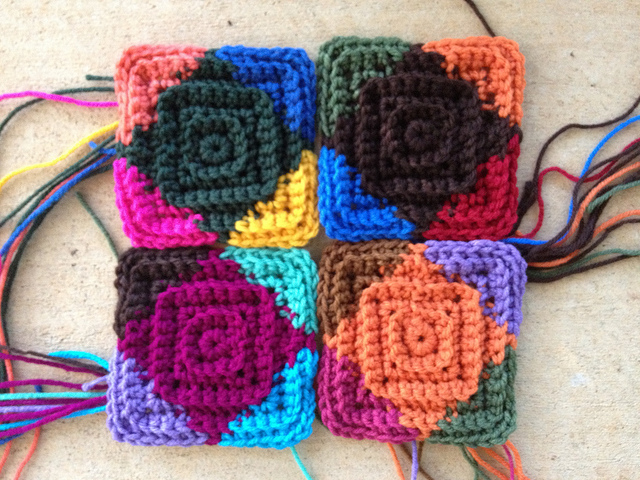 Four textured crochet motifs with thirty days left to go
