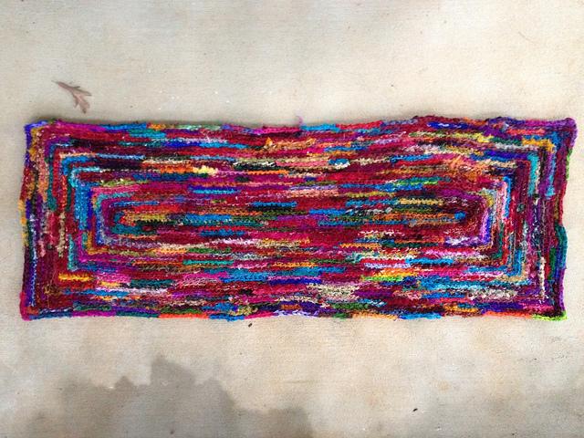 sari ribbon crochet throw rug