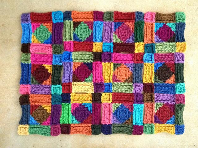 twelve multicolor textured crochet squares, crochetbug, crochet afghan, crochet blanket, crochet amish quilt, crochet throw