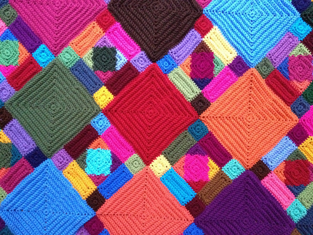 detail of a textured crochet blanket