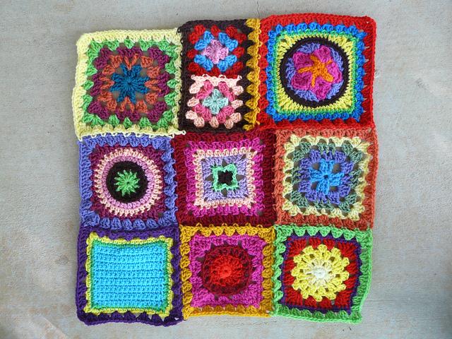 rectangle of crochet squares granny squares