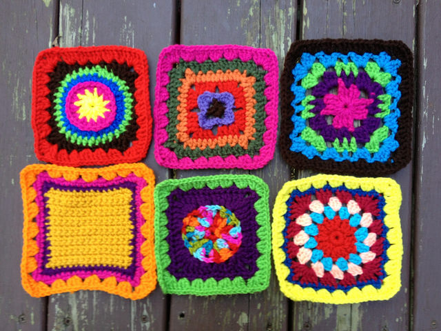 Six crochet squares for a future granny square fat bag