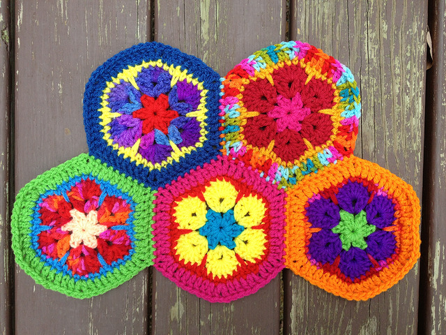 five African flower crochet hexagons joined with a whipstitch