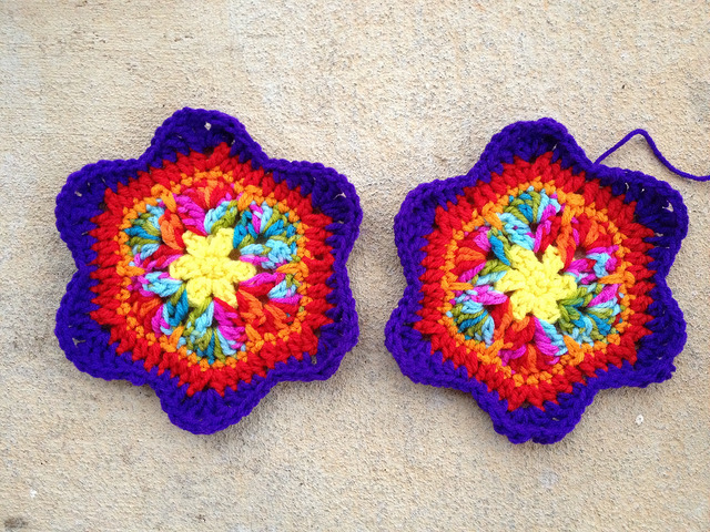 Two completed six point african flower crochet stars