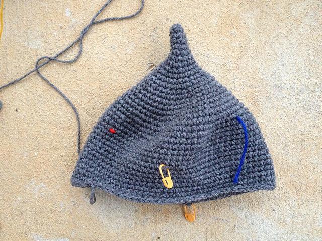 The start of an Assyrian crochet helmet