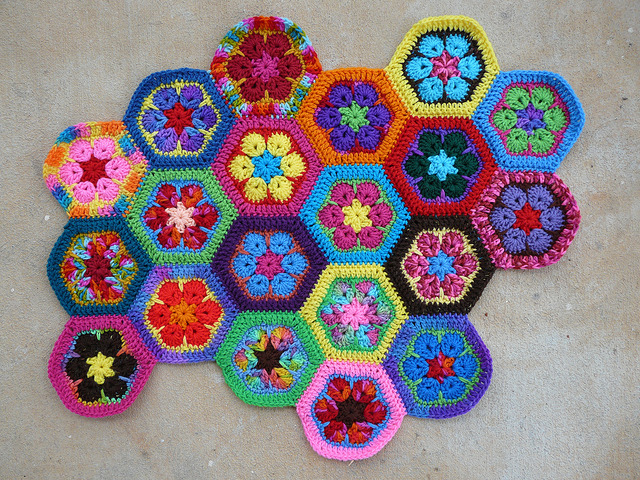 Twenty African flower crochet hexagons whipstitched together