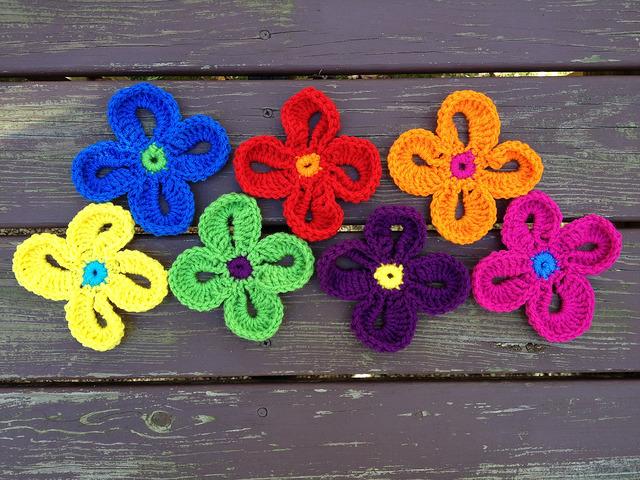 Seven Hawaiian crochet flowers