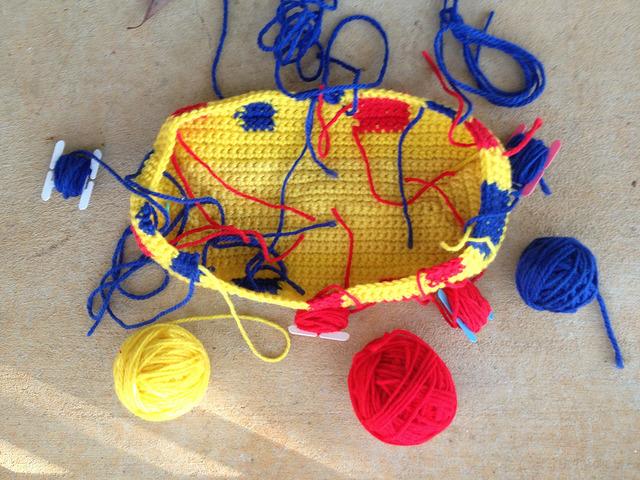 unfinished crochet bag