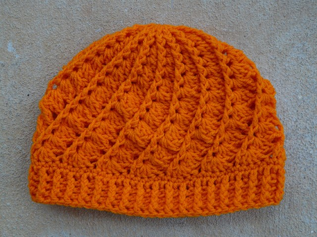 A tangerine crochet hat for Robert