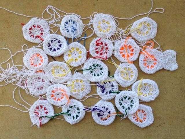 Some textured flower crochet hexagons an afghan