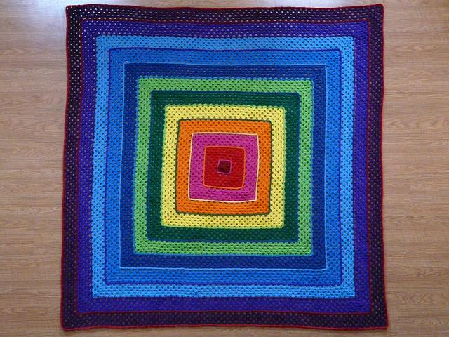 crochetbug, crochet square, concentric squares, crochet squares, granny square, rainbow is a color