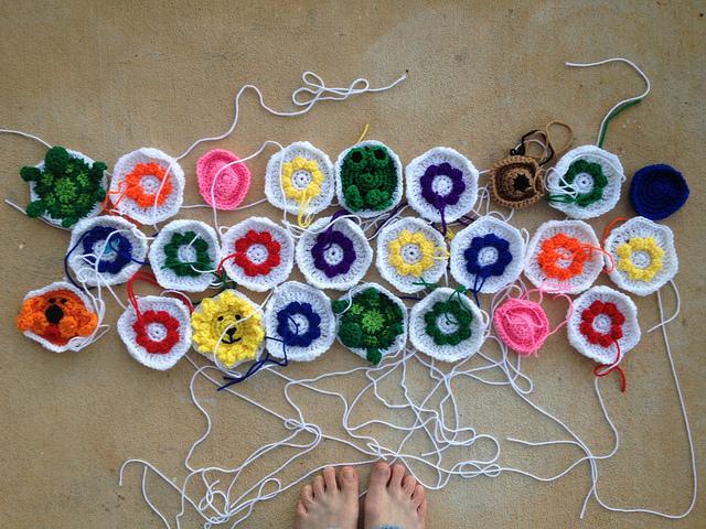 crochet animal and crochet flower hexagons