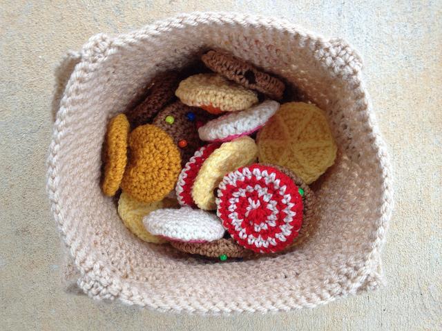 crochet cookies in a crochet bag