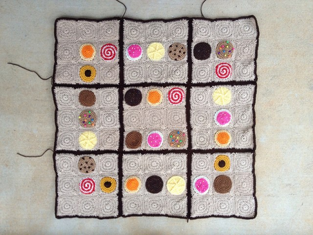 My progress on the crochet cookie sudoku on this gray Monday