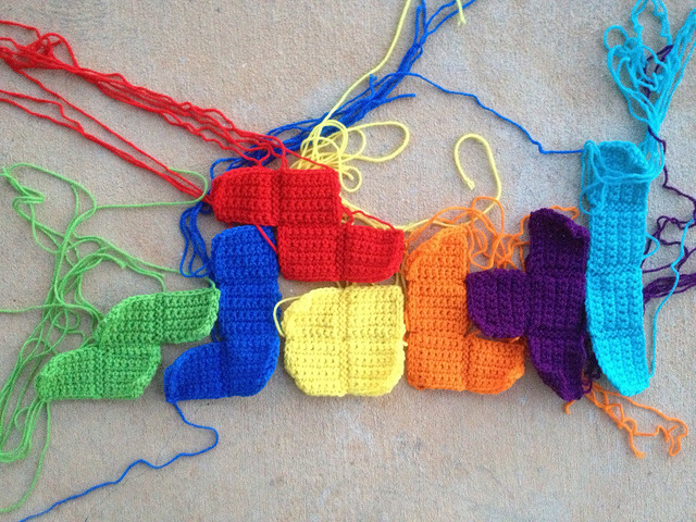 crochet tetromino arrangement