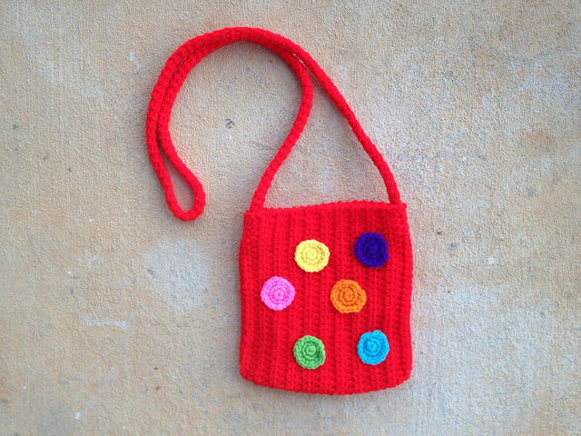 hot red crochet purse