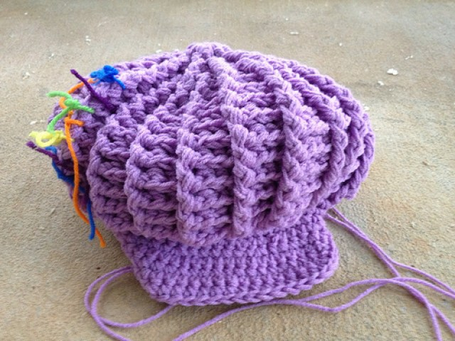 The freshly completed crochet hat