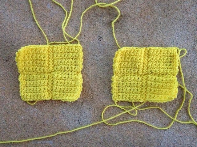 two crochet tetrominos