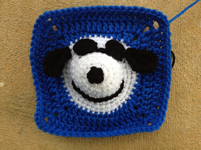 Snoopy wearing sunglasses for a crochet square for one corner of the project linus crochet blanket