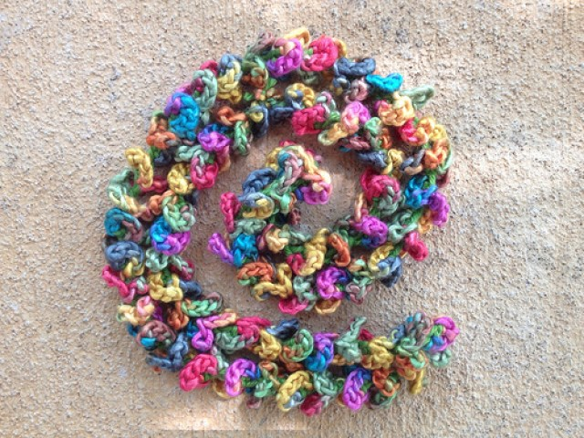 crochet lei to coordinate with a crochet chemo cap