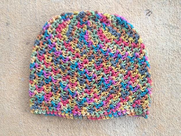 crochetbug, soft crochet chemo cap, rainbow silk yarn, crochet hat, crochet cap
