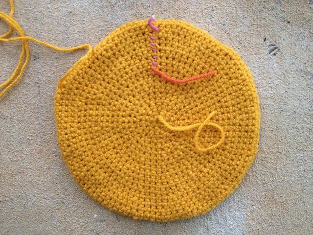 Interior view of the future crochet taco purse