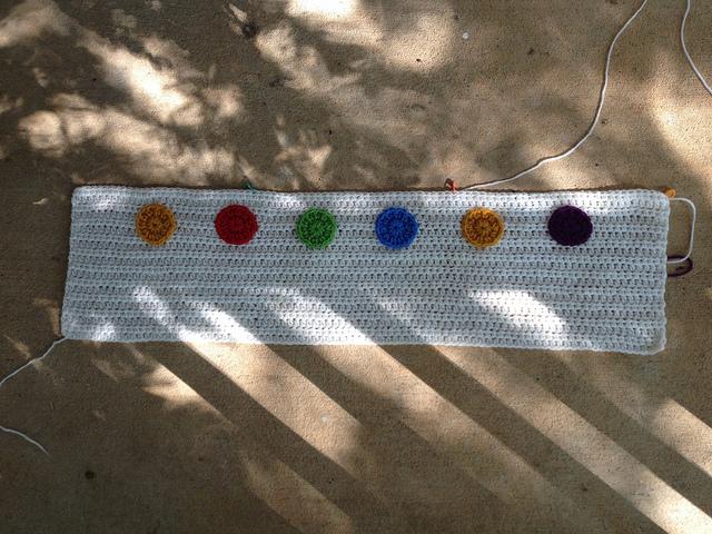 appliqued crochet dots