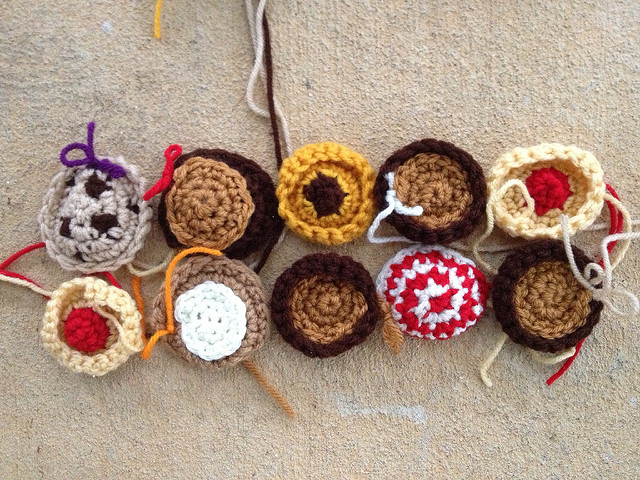 ten small crochet cookies