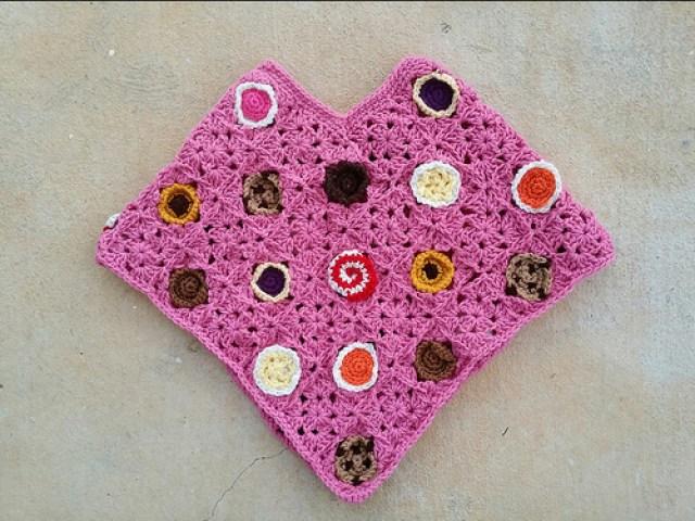 cookie crochet poncho, crochetbug, crochet cookies, crochet squares