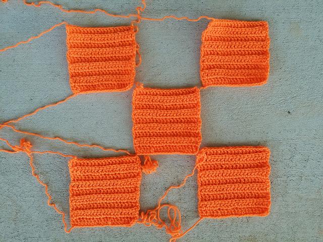 orange textured crochet squares