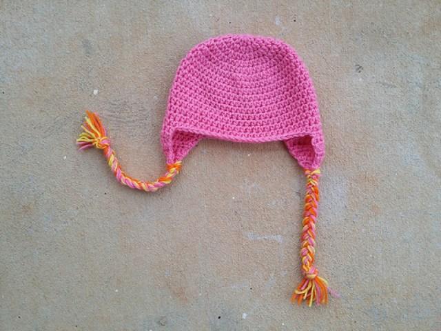 crochetbug, crochet hat, crochet beanie, pink crochet earflap hat, braided yarn, yarn braids