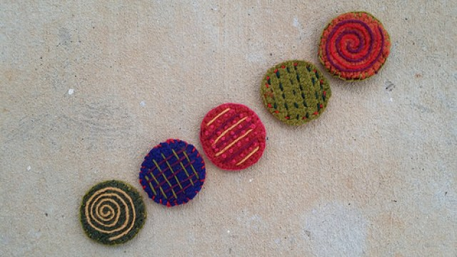 five felted crochet furniture coasters
